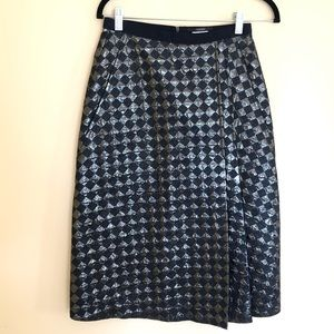 ODEEH Black Metallic Knee High Pencil Skirt Sz 34